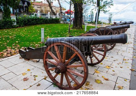 Old ottoman cannons exibited on the overlook of the city of Bursa