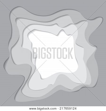 Vector card template with cut paper edges in grey and white. Space for text.