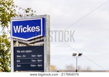Northampton, UK - 29 OCTOBER 2017: Day view shot of Wickes DIY logo in Sixfields Retail park.
