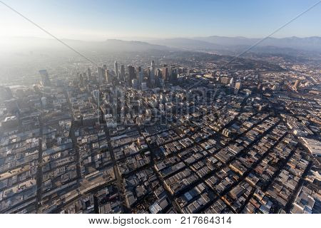 Aerial view of urban smog and sprawl in downtown Los Angeles, California.