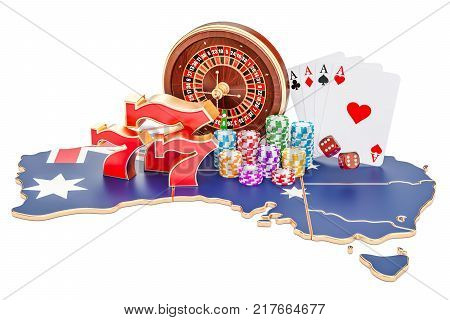 Casino and gambling industry in the Australia concept 3D rendering isolated on white background