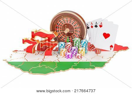 Casino and gambling industry in the Hungary concept 3D rendering isolated on white background