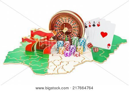 Casino and gambling industry in the Nigeria concept 3D rendering isolated on white background