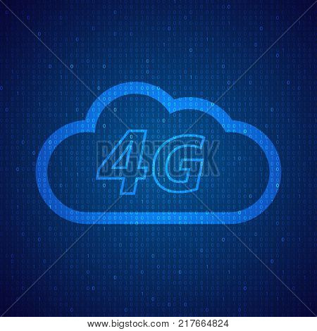 4G speed wireless mobile cloud network. Vector illustration .