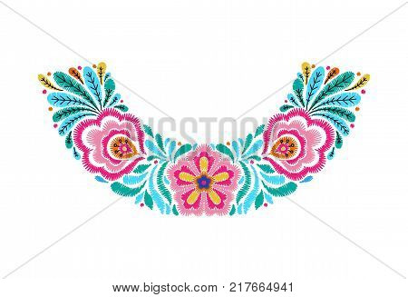 Embroidered neckline design. Needlework floral composition. Flower motives. EPS 10 vector embroidery fashion template.