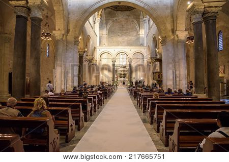 Bari Italy - September 2 2016: Traditional italian wedding ceremony in the Basilica of Saint Nicholas in Bari