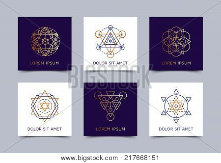 Sacred geometry business card set. Design blanks with sacral geometric signs. Line art colorful and golden elements. EPS 10 vector templates.