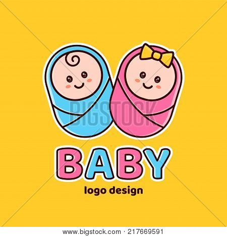 Boy and girl.Baby shower,Newborn logo design template. Vector flat cartoon outline illustration icon design. Isolated on yellow background. Newborn,baby,new childre,kid concept