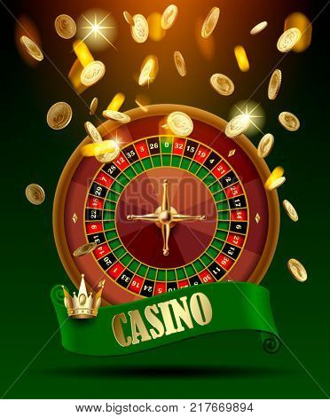Casino wheel with green ribbon and crown under gold money rain