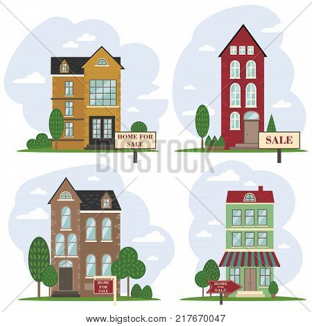 House for sale. The house and sign in the foreground with the information. Amsterdam dutch european house. Vector illustration in flat style
