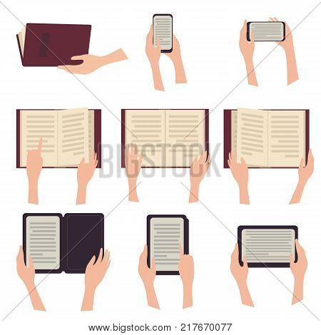 Woman holding e-book tablet phone and paperbook in hands. Digital book. Reading from all kinds of devices. Online reading. Vector illustration. Flat design style. Isolated on white background