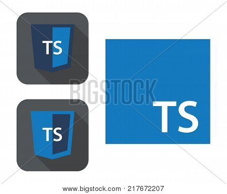 vector collection of web development shield signs - html5 styled badge with ts letters. isolated icon on white background