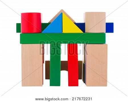 Cubic multicolored arch, with square columns, lined up for a child, child development, at the top is a triangle, a view from the front, isolated on a white background.