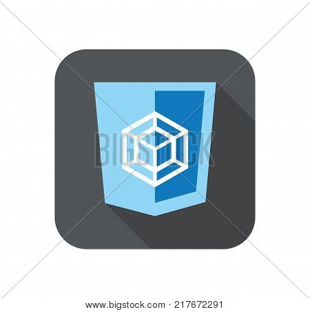 vector web development blue shield sign - html5 styled badge with square shape. isolated icon on white background