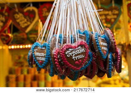 Christmas market in Wuppertal-Barmen Germany. On the gingerbread heart itsays dream woman and dream man