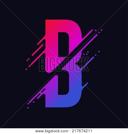 Alphabet letter B with liquid splash and drops, abstract colorful ink abc, stylized dynamic paint trail font. Vector