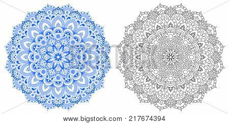 Indian pattern. Mandala. The flower of the mandala. Set from the Indian mandala is painted in dark blue, light blue, white, black and white contour of the mandala. For coloring, anti-stress. Eps 10.