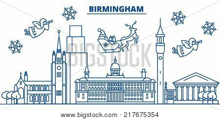 Great Britain, Birmingham winter city skyline. Merry Christmas, Happy New Year decorated banner with Santa Claus.Winter greeting line card.Flat, outline vector. Linear christmas snow illustration