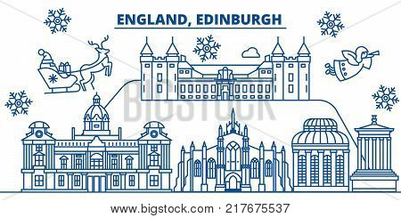 Great Britain, Edinburgh winter city skyline. Merry Christmas, Happy New Year decorated banner with Santa Claus.Winter greeting line card.Flat, outline vector. Linear christmas snow illustration