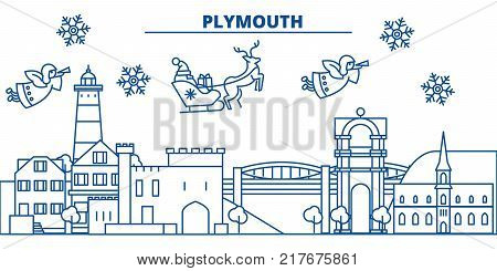 Great Britain, Plymouth winter city skyline. Merry Christmas, Happy New Year decorated banner with Santa Claus.Winter greeting line card.Flat, outline vector. Linear christmas snow illustration