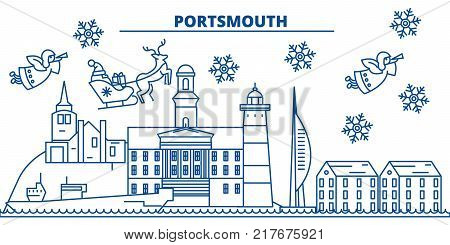 Great Britain, Portsmouth winter city skyline. Merry Christmas, Happy New Year decorated banner with Santa Claus.Winter greeting line card.Flat, outline vector. Linear christmas snow illustration
