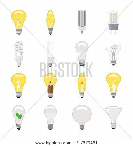 Light bulb vector lightbulb idea icon solution electric lighting lamp energy cfl or led electricity and fluorescent light illustration isolated on white background.