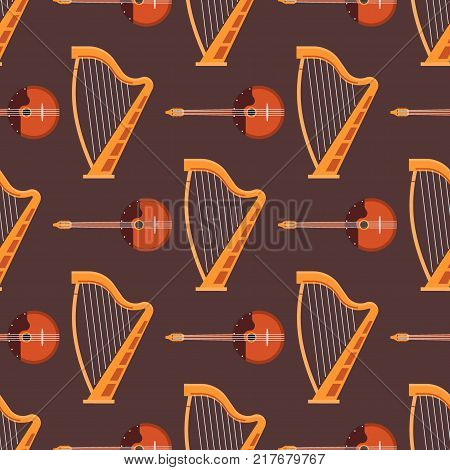Seamless pattern background stringed musical instruments sound tool and acoustic symphony stringed fiddle equipment vector illustration. Vintage performance classic folk rock artistic sign.
