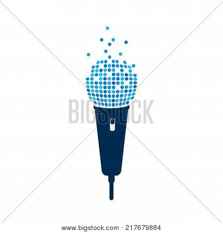Microphone logo on white background. Isolated mic with pixel art. Vector illustration