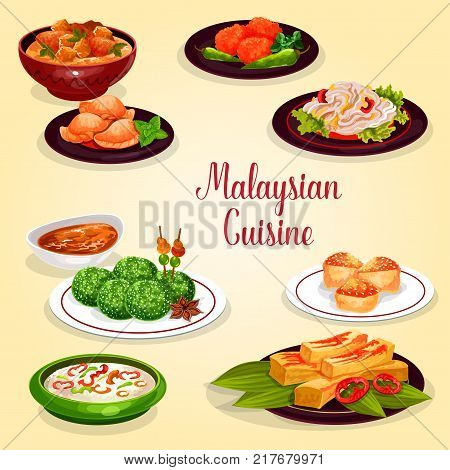 Malaysian cuisine icon of asian restaurant menu. Chicken vegetable stew, rice nasi lemak with veggies and chili sauce, meat pie, coconut dessert and prawn pancake, bean salad and vanilla sponge cake
