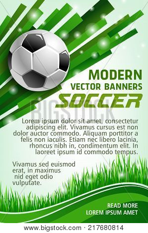 Football sport game banner with soccer ball. Green grass of football stadium field and soccer ball poster for sporting competition and championship match web banner design