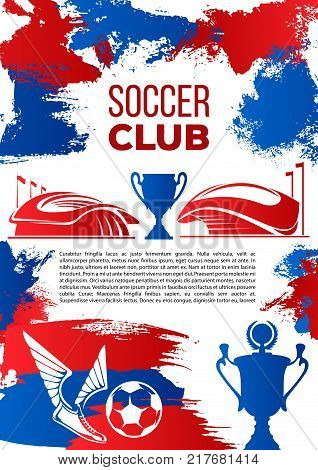 Soccer sport club banner with football stadium. Sporting arena, soccer ball and winner cup, winged football boots and trophy grange poster for soccer competition or football championship themes design