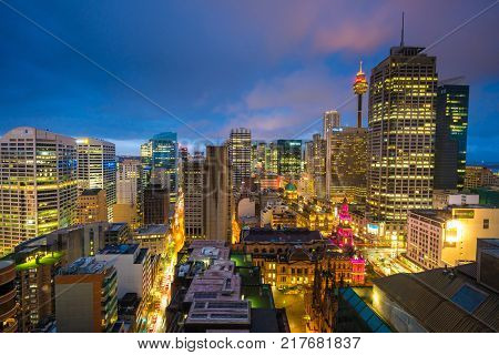 Sydney, Australia - Aug 27, 2017: View of Sydney CBD at sunset. It is a major financial and economic centre in the Asia-Pacific region. It is also a popular spot for nightlife and entertainment.