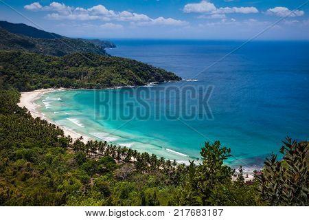 Panoramic view on Sabang beach, Puerto Princesa, Palawan island. Philippines .