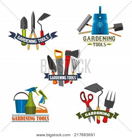 Gardening tools and equipment icon set. Rake, shovel and watering can, fork, spade and bucket, trowel, pruner and cutter, saw, axe and spray bottle symbol with ribbon banner for garden work design