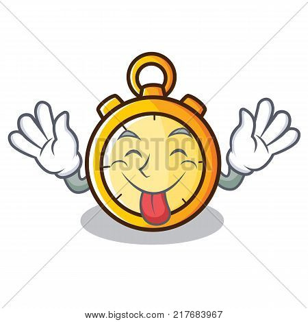 Tongue out chronometer character cartoon style vector illustration