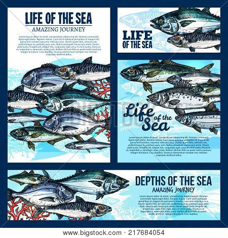 Sea life banner template with deep water fish and ocean animal sketch. Salmon, tuna and mackerel, carp, perch and dorado, herring and sprat fish shoal poster for seafood menu or fishing tour design