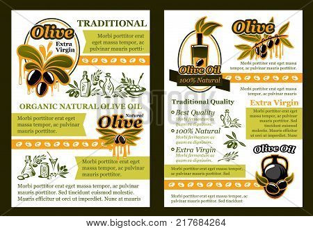 Olive oil natural product poster template. Pickled olive fruit and extra virgin olive oil bottle poster with badge of green branch with ripe black fruit and oil drop for healthy food brochure design