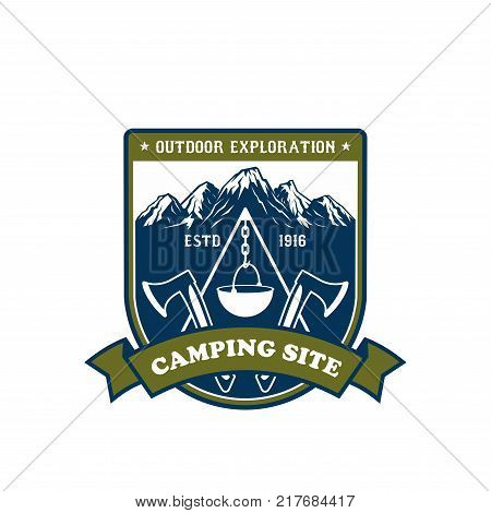 Camping and outdoor adventure icon. Mountain or forest campsite badge on shield with scout campfire, camping equipment and snowy mountain peaks, adorned with crossed axe, ribbon banner and stars