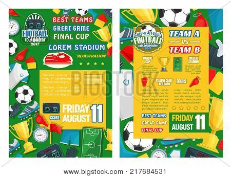 Football sport tournament final match banner template. Soccer game championship poster with frame of ball, winner cup or golden trophy, football stadium field, referee cards, flag and scoreboard