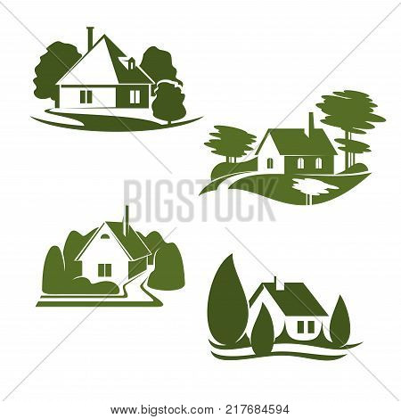 Eco green house isolated icon set. Eco city green home symbol with backyard garden, tree and grass lawn for ecology landscape design and environment friendly real estate company emblem design