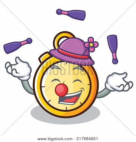 Juggling chronometer character cartoon style vector illustration