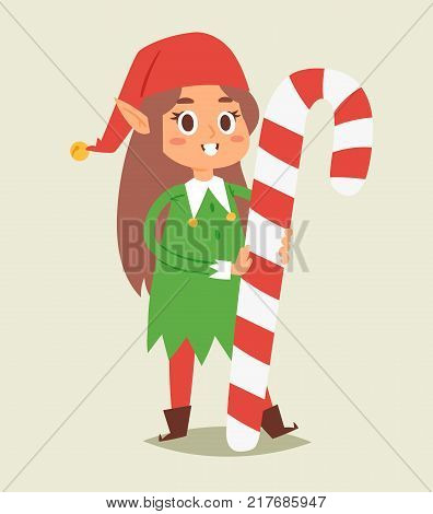Christmas elfs kids vector children Santa Claus helpers cartoon elfish girl young characters traditional costume celebrated.