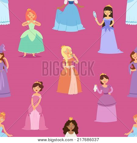 Cartoon girl vector princess characters different fairy-tale clothes dress fairy woman cute adorble girls illustration. Fashion fairytale woman elegance style dress seamless pattern background