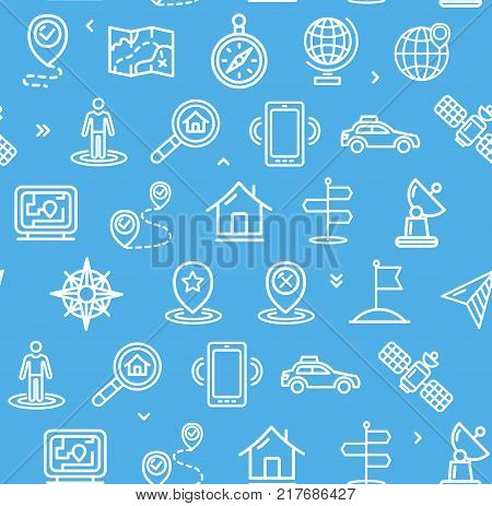 Location and Navigation Pattern Background on a Blue for Business and Service Include of Wind Rose, Navigator. Vector illustration