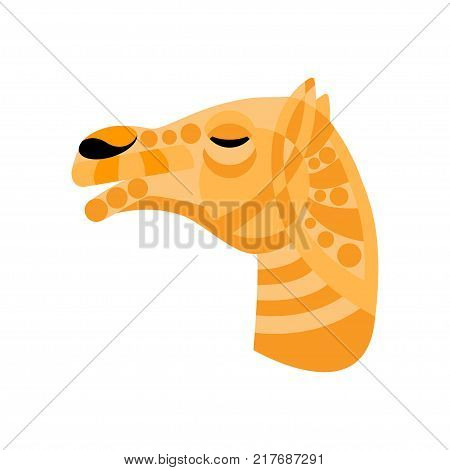 Camel tribal ornated head. Stock vector illustration of a mammal mascot animal mask in flat style.