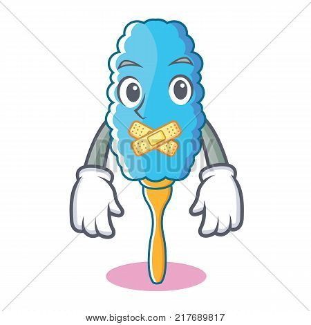 Silent feather duster character cartoon vector illustration poster