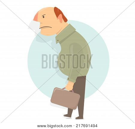 Angry old man character. Cartoon character funny and comic style.