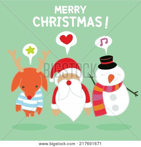 Set Of Round Flat Christmas Characters.