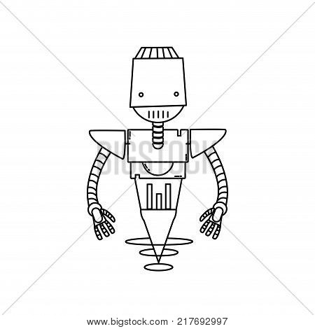 line technology robot with machine robotic body vector illustration
