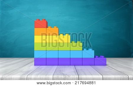 3d rendering of a toy building blocks arranged into rainbow colored stars on top of a wooden desk. Unity and difference. Uniqueness. Uncommon traits.